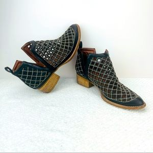 JEFFREY CAMPBELL BLACK PERFORATED LEATHER BOOTIES
